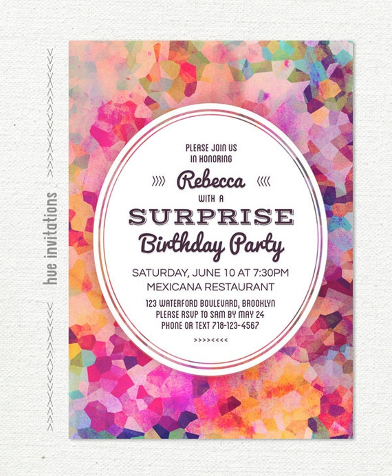 Surprise Birthday Party Invitation For Women Adult Birthday