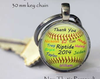 """PERSONALIZED SOFTBALL key chain - gift for softball coach from team """"signed"""" by team players - team name and year - Gift for Softball Coach"""