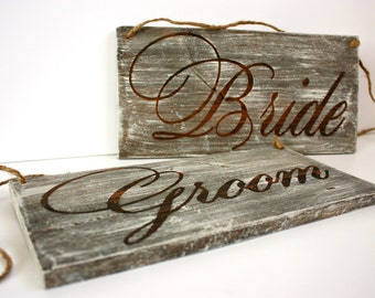 Bride and Groom Chair Signs, Rustic Bride and Groom Chair Signs, Wedding Signs, Wedding Photo Props