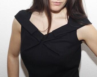 Minimalist origami folding dress in black luxurious wool silk-handmade in Italy by Elena Gini