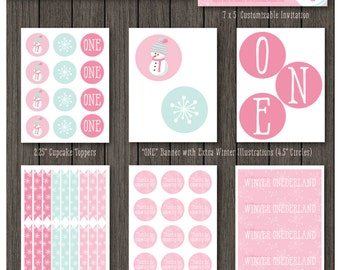 Winter Onederland Girl's First Birthday Party Package - Digital Printable Party Package