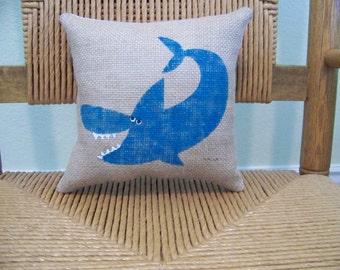 Shark pillow, Beach pillow, coastal Pillow, Nautical stenciled pillow, Sea life pillow, FREE SHIPPING!