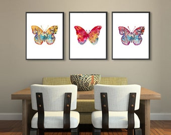 Watercolor Butterfly Art Print Set, Insect Art, Nature Wall Art, Butterfly Illustration, Home Wall Decor - Set of 3 prints  - 68/65/70