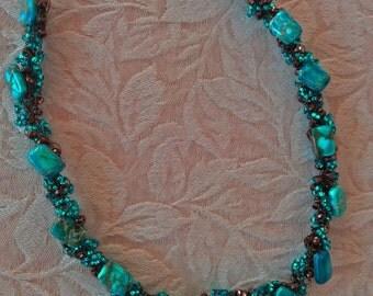 Dyed Jasper and Thunder Polish Crochet Necklace