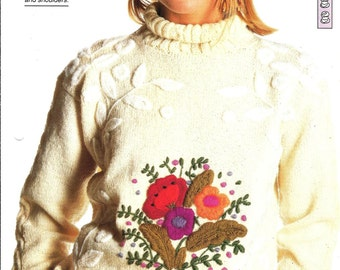 "Knitting pattern - Woman's ""Floral Fantasy"" sweater jumper top - Instant download"