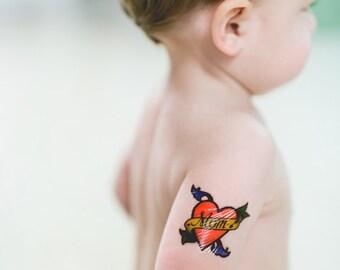 Temp tattoos. Body sticker. Gift for Mom. Temporary body art tattoo. For kids hand drawn tattoos.  Heart flowers body strikers