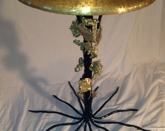 Grape Themed Bird Bath Mixed Media Brass and Steel