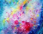 Outer space painting PRINT - matte, glossy, giclee - 5 x 7