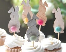 Easter party, Easter cake decor, bunny cake topper rabbit cake toppers, needle felted food picks cupcake toppers felted balls spring toppers