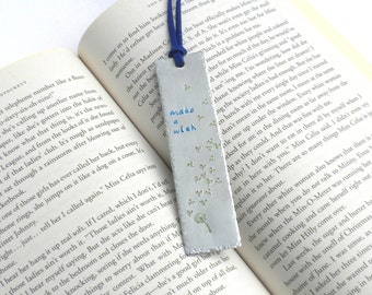 Hand-Stamped Bookmark   Make A Wish   Dandelion