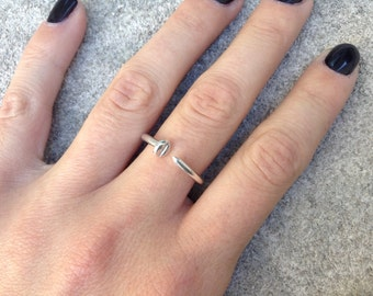 Sterling silver nail ring, silver screw ring