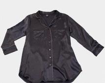SALE - 100% Pure Silk Shirt Dress - Handmade - Midnight Grey Colour