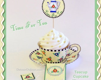 12Amour's Flowered CUPCAKE WRAPPERS DIY Printable Cupcake Wrappers Teacup Cupcake Wrappers Yellow Tea Cup Cupcake Wrappers