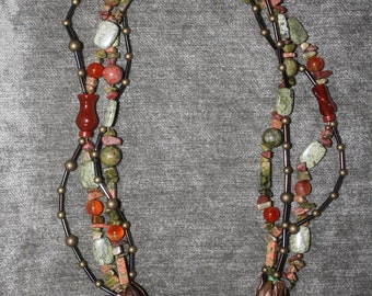 Fall Harvest Halloween Necklace - Jasper Center Stone with Bronze side petals.