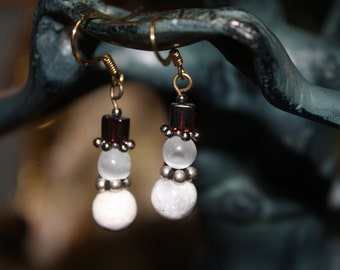 Stone and Glass Snowmen Earrings