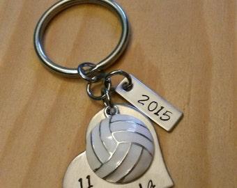 Hand Stamped Volleyball Team Keychains - Girls Volleyball Keychain - Personalized Volleyball Gift - Volleyball Gifts
