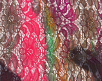 Multi Color Floral Lace Fabric from 1980s