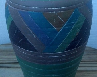 Vintage Hand Crafted Clay Vase Signed by GE 1981 / Native American South Western Vase / Flower Vase/ Housewarming Gift/Wedding Gift/ / F394