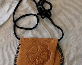 Leather neck wallet