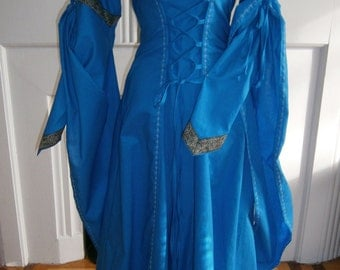 Blue Medieval Dress, Renaissance Gown, Renfair Garb, Handfasting Dress, Medieval Wedding Dress