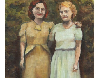 5x7 inch giclee print of an original oil painting, In the Garden, sisters, green, blue, brown, friends, wall art