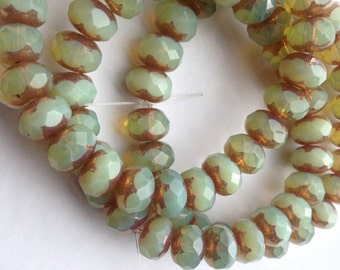 Czech Artisan 6 x 9 mm Faceted Rondell Rondelle Beads--Pale Sage Green Opaline with Coppery Bronze Edges