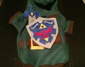 Deluxe Dog costume hoodie Link Legend of zelda video game pet halloween with detachable master sword and hand cut shield.