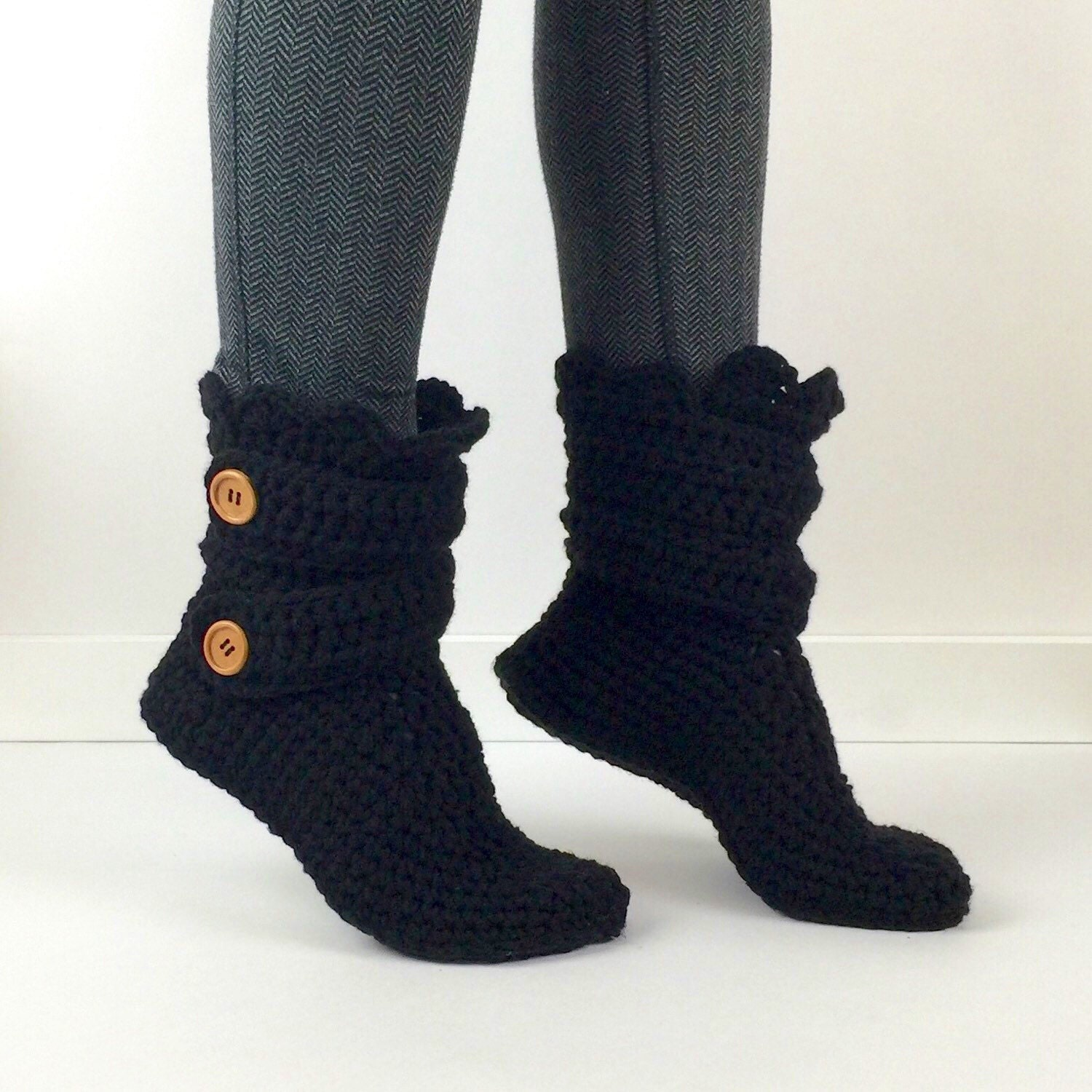s crochet black slipper boots crochet by starduststyle