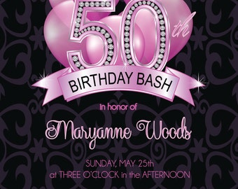 50th Birthday Invitation - Adult 50th Birthday Invitation - DIY or Printed Invitation