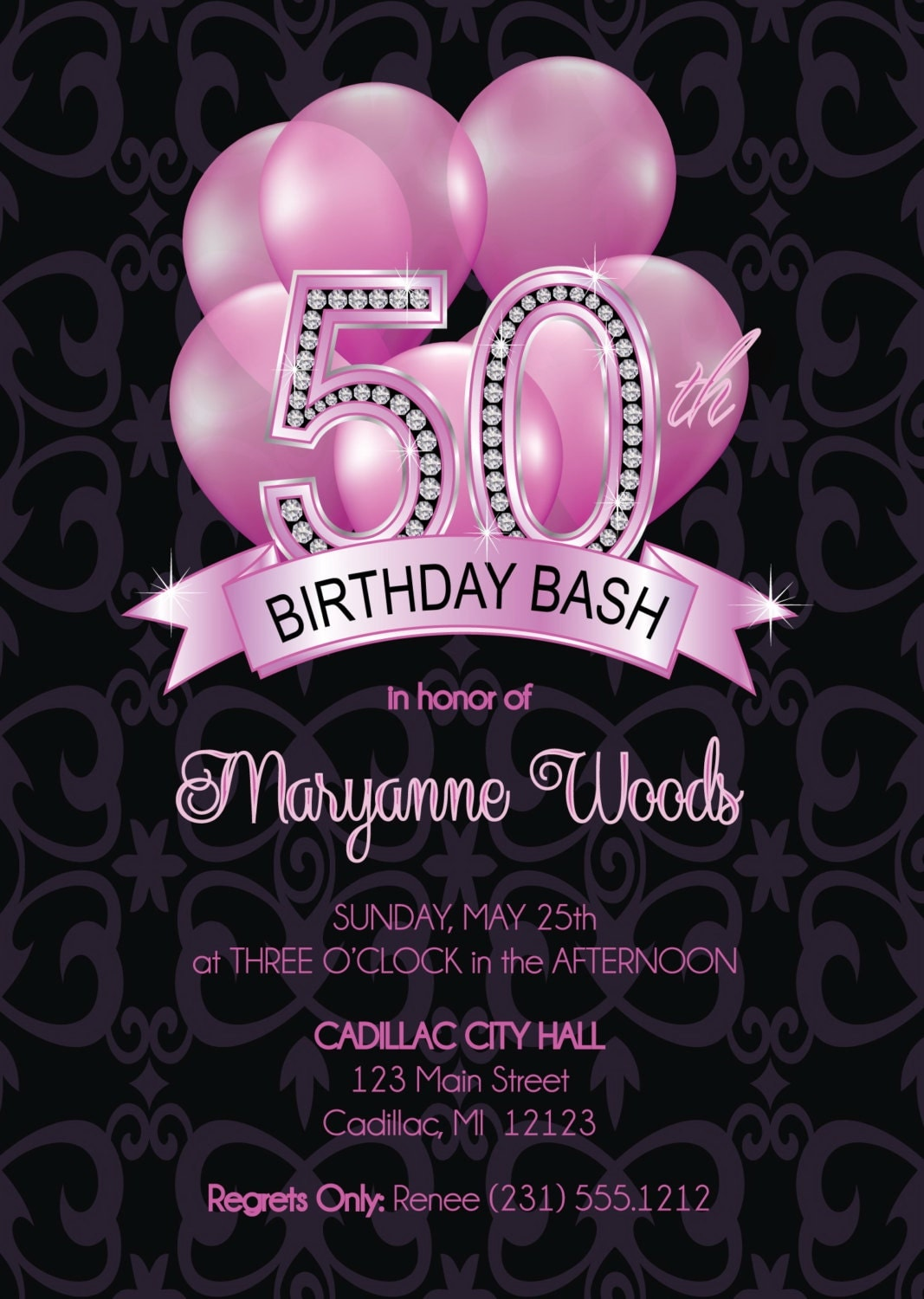 50th birthday adult invitation invitations party diy invite cards printable surprise announcements bday fabpartyprints printed card milestone digital pink stationery