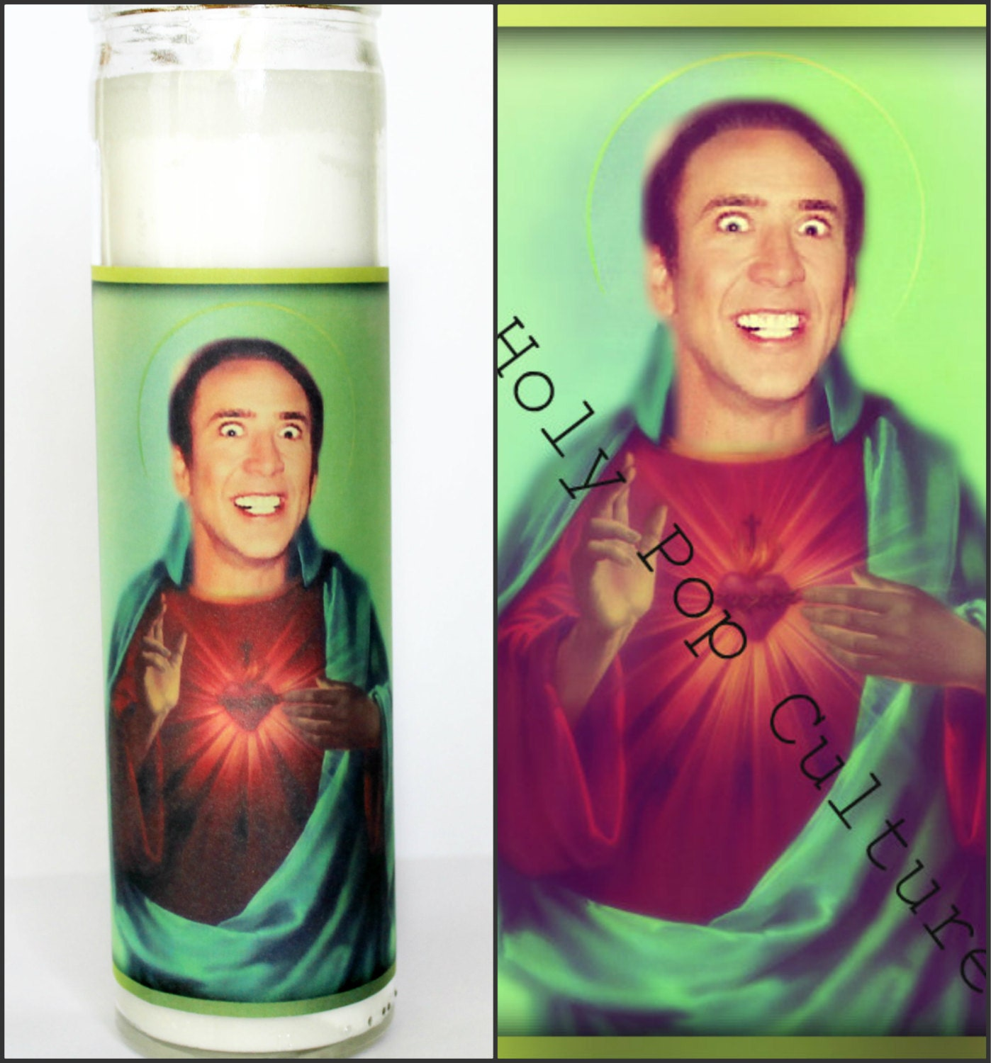 Crazy Saint Nicolas Prayer Candle Nic Cage Candle