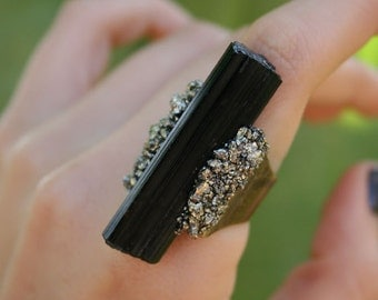Black Tourmaline & Pyrite Ring