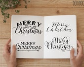 Christmas Overlays, Typography Clipart, Merry Christmas Clipart, 300 dpi PNG files, commercial use graphics