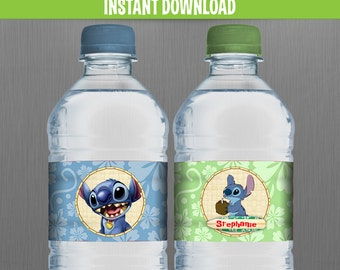 Disney Lilo and Stitch Birthday Bottle Labels or Napkin Rings - Instant Download and Edit with Adobe Reader