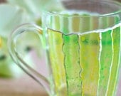 Hand painted mug with yellow and green stripes. Stained-glass view. Inspiration kitchen decor. Engagement gifts. See-through mug.