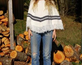 70s White Knit Poncho Cape, Boho Hand knit Fringe Shawl, Knitted Scarf Vintage Hand Made Crochet Triangle Shawl, Metallic Grey Racing Stripe