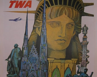 TWA 'New York' Poster by David Klein c1960