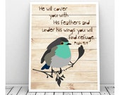 Scripture Art, Scripture Download, Psalm 91:4, Printable Scripture Art, Scripture Art Print, Nursery Scripture Art, Bird Art, Bird Artwork