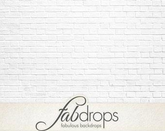 White Brick Backdrop - Brick Photography Backdrop - White Brick Back Drop Background (FD0911)