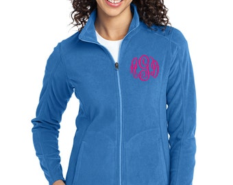 Monogrammed Womens Fleece- Royal with Hot Pink Monogram-- zip up light weight fleece jacket with several color options