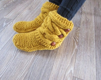 Gold Knitted Cozy Slippers - Slipper Socks - Gold Slippers - Women's Slippers - MADE TO ORDER