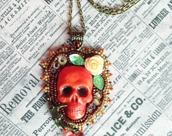 Skull pendant Orange and Cream Yellow