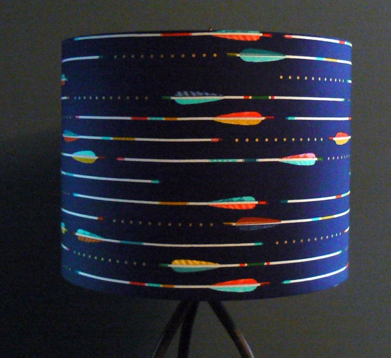 arrows lamp shade navy blue drum shade with by liteandshadow. Black Bedroom Furniture Sets. Home Design Ideas