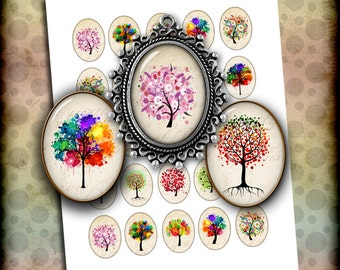 Tree of Life Oval Images 30x40mm 22x30mm 18x25mm for Jewelry Making - Digital Collage Sheet - Instant Download