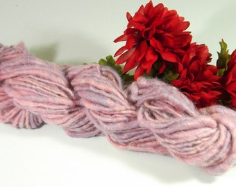 Handspun yarn, Blushing Sweet Pea, Hand dyed, Alpaca Wool, Firestar, Bulky, Core-wrapped Single