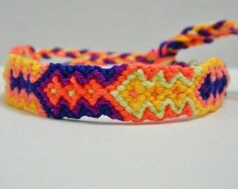 Adjustable Vibrant Neon Colorful Diamond Friendship Bracelet