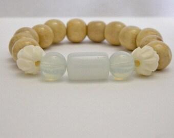 White Glass, Opalite, Bone, & Wood Bead Stretch Bracelet