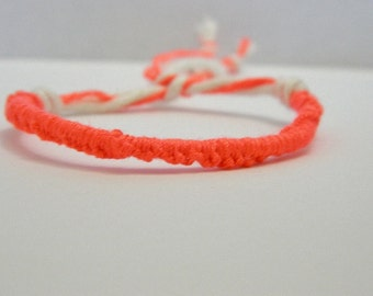 Adjustable Neon Pink Friendship Bracelet