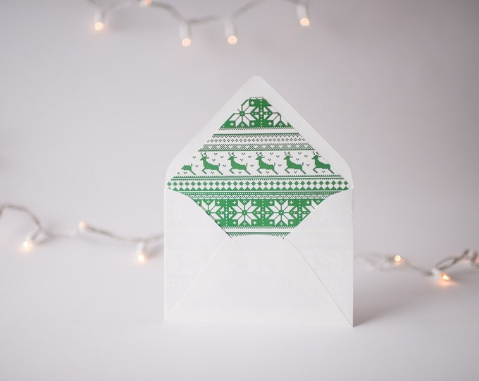 green christmas sweater lined envelopes / christmas holiday envelope liners (set of 10)