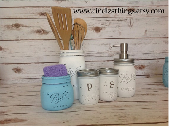 Set of Mason Jars Kitchen UTENSIL Set Painted BALL Mason JARS. Rustic Kitchen. Vintage. Country Wedding Gift. Soap. Jars. Green.Christmas